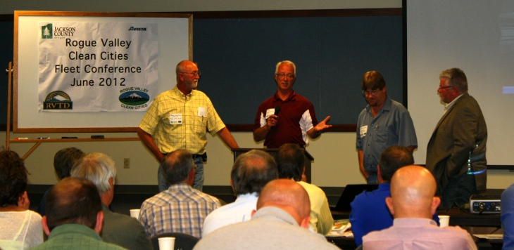 Butler Ford's Mike Cocchiara speaking at the 2012 Rogue Valley Clean Cities Coalition's 2012 Fleet Conference